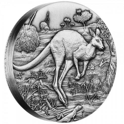 2016 Perth Mint 2oz silver antiqued Kangaroo