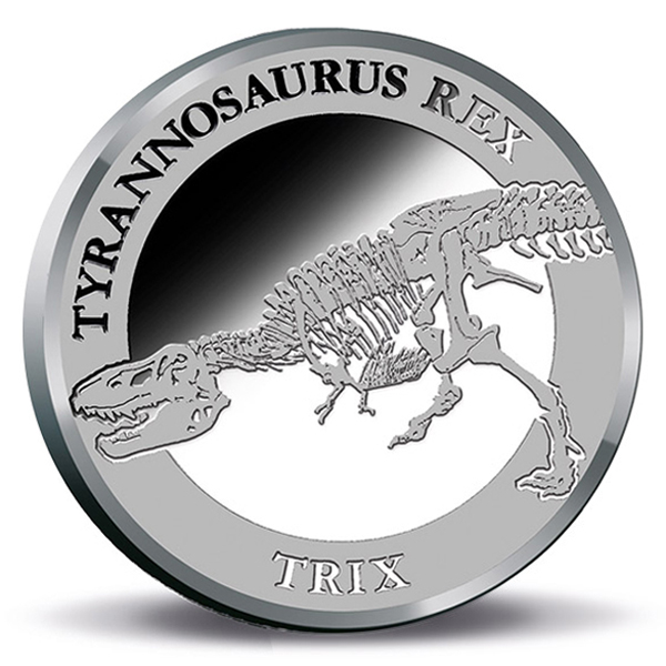 Tyrannosaurus Rex Glow in the Dark Silver Medallion