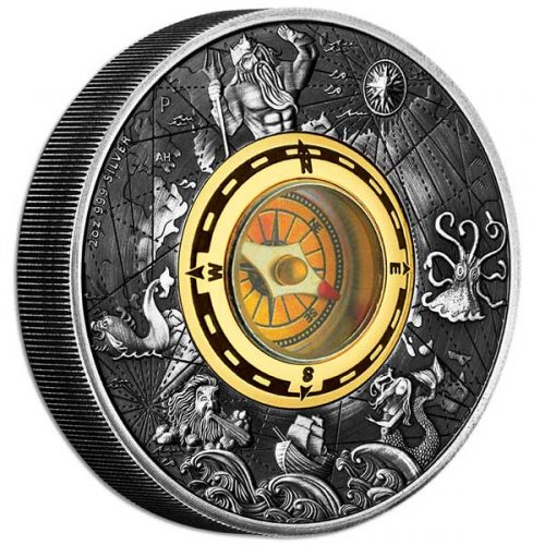 Compass 2017 2oz Silver Antiqued Coin