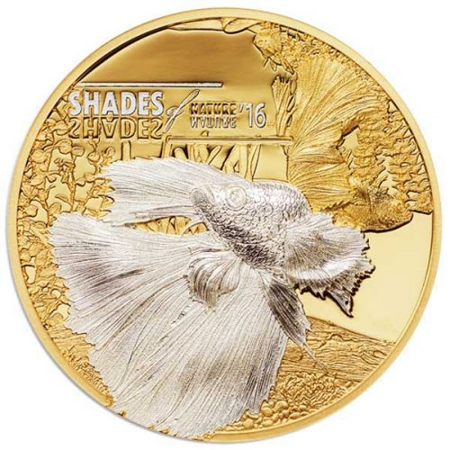 2016 Shades of Nature Fighting Fish 25g Gilded Silver Coin