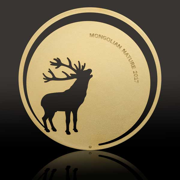 CIT Mongolian Nature 2017 Roaring Deer Gilded Silver Coin