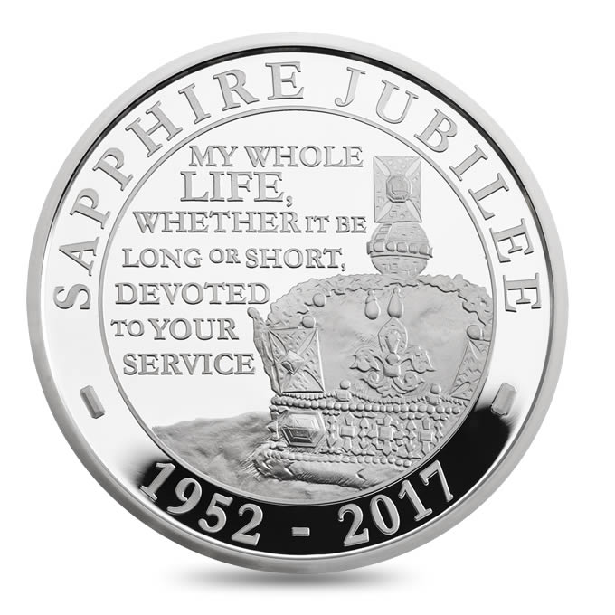 The Queen's Sapphire Jubilee 2017 United Kingdom £5 Silver Proof Coin