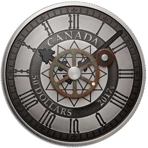 2017 Canada Peace Tower Clock 90th Anniversary 5oz Antiqued Silver Coin