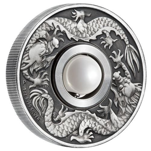 Dragon & Pearl 2017 1oz Silver Antiqued $2 Tuvalu