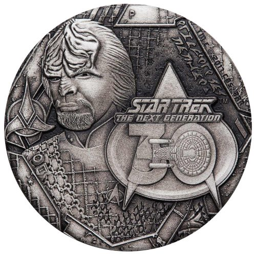 Star Trek: The Next Generation Lieutenant Commander Worf 2017 2oz Antiqued Silver