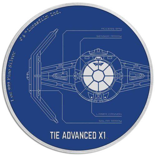 2017 Star Wars: TIE Advanced X1 Niue Niue 1oz Silver Proof
