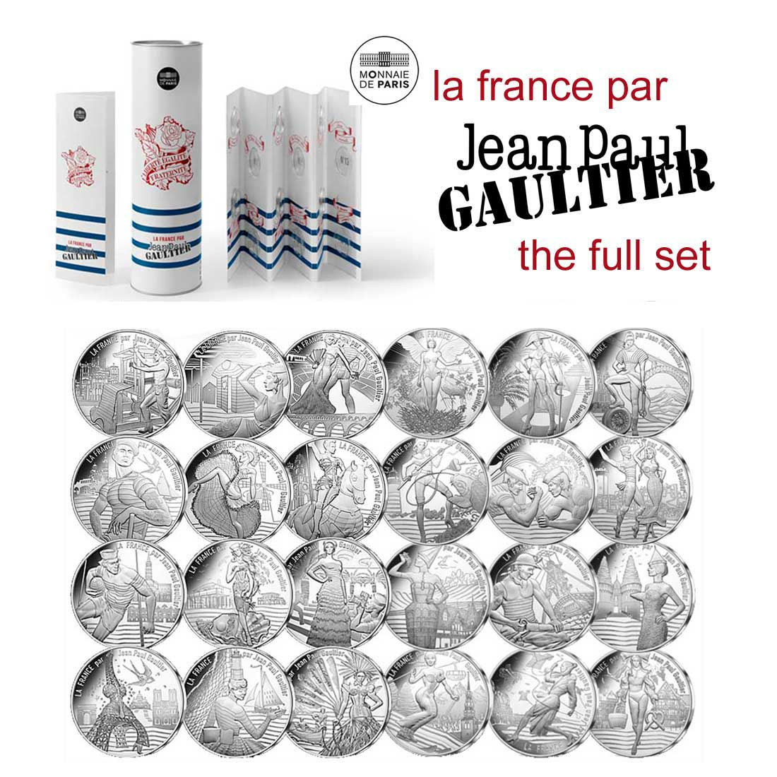 France by Jean Paul Gaultier 2017 Box set of twenty-four 10€ silver coins