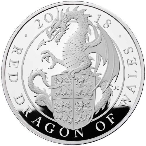 The Queen's Beasts - The Red Dragon of Wales 2018 UK 1oz Silver Proof Coin