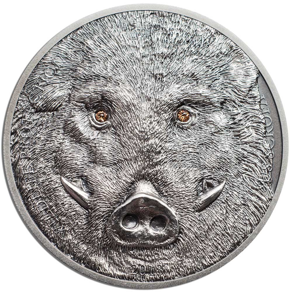 CIT 2018 Wildlife Protection - Wild Boar 1oz Antiqued Silver High Relief Coin