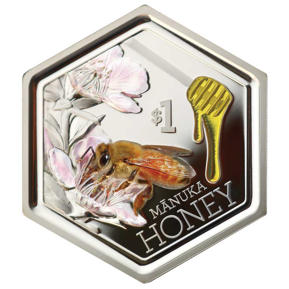 2018 New Zealand Manuka Honey Bee 1oz Silver Proof Coin