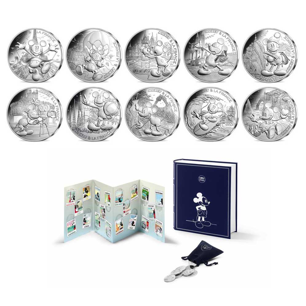 2018 Mickey et la France 10x 10€ Silver coin box