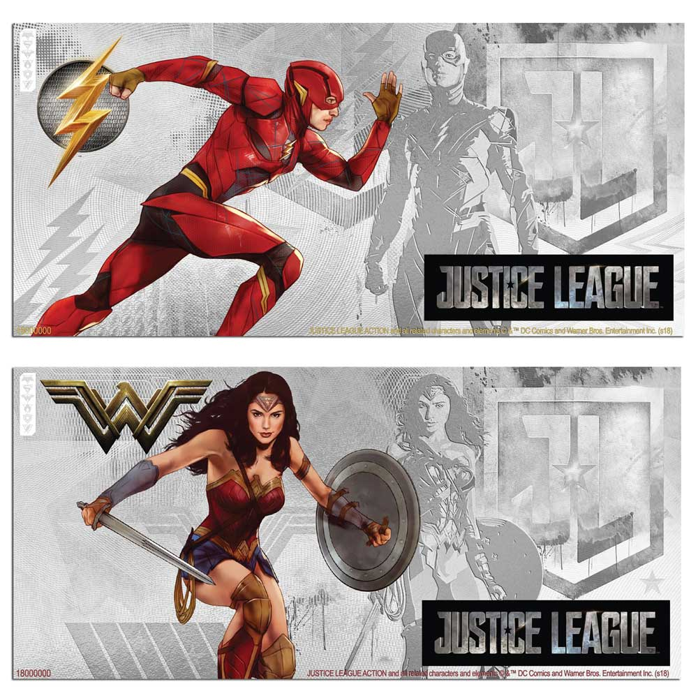 2018 Justice League: Flash and Wonder Woman™ 5g Silver Notes