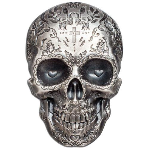 CIT La Catrina Skull 2018 Palau 1oz antiqued silver coin