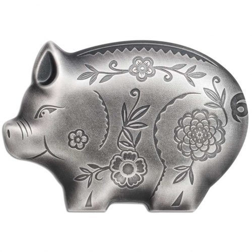 CIT 2019 Jolly Silver Pig 1oz Antiqued Silver High Relief Coin
