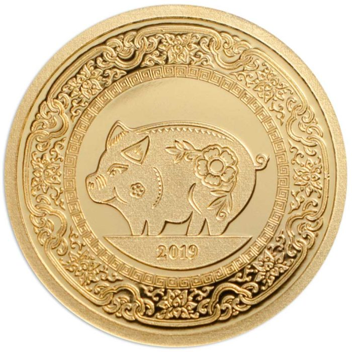 CIT Year of the Pig 2019 Mongolia 0.5g minigold proof coin