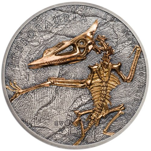 CIT 2018 Evolution of Life - Pterosaria 1oz Gilded Antiqued Silver High Relief Coin