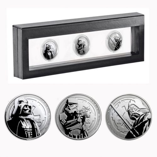3x Star Wars 1oz Silver Coins 2017 & 2018 in Nimbus Frame