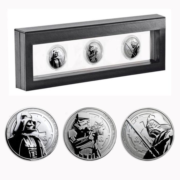 3x Star Wars 1oz Silver Coins 2017 & 2018 in Nimbus Frame
