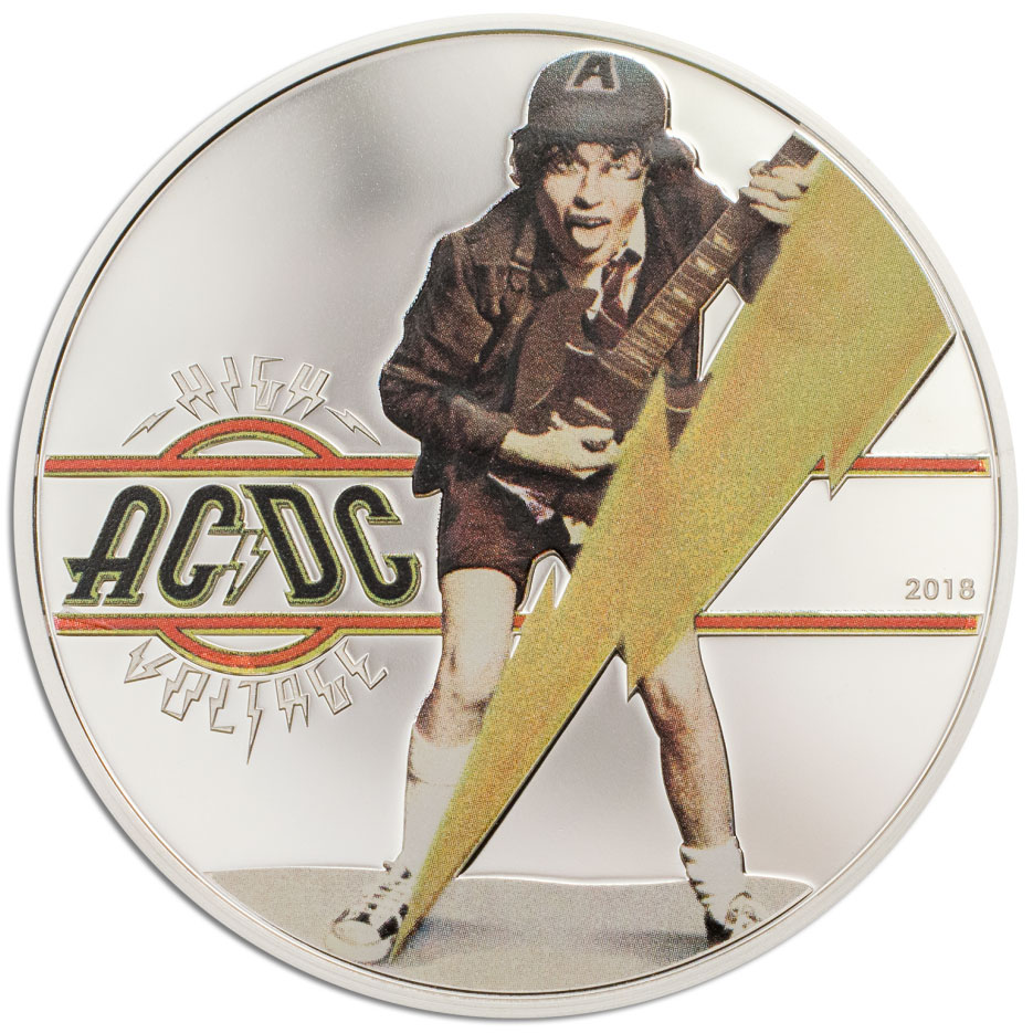 AC/DC HIGH VOLTAGE 2018 Cook Islands 1/2oz silver coin