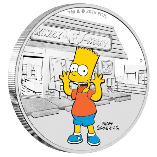 THE SIMPSONS BART 2019 Tuvalu 1oz silver coin