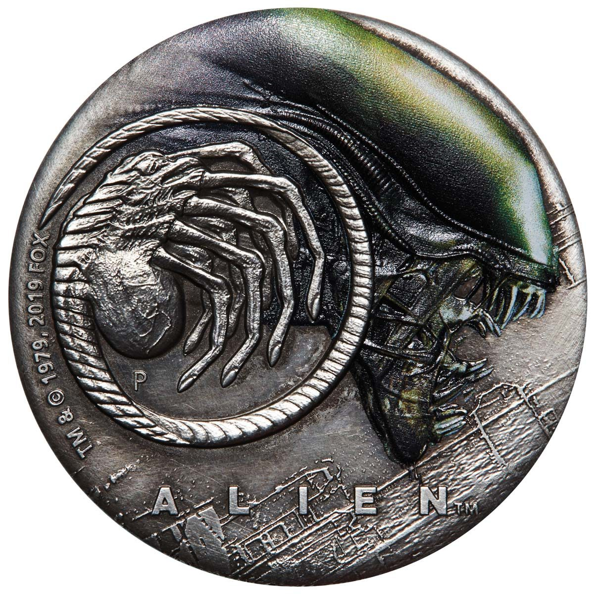 ALIEN 40TH ANNIVERSARY 2019 Tuvalu 2oz silver antiqued coloured coin