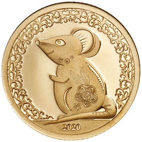 YEAR OF THE MOUSE 2020 Mongolia 0.5g minigold proof coin