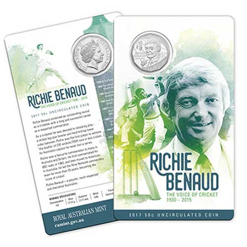 2017 50c Richie Benaud Uncirculated Coin