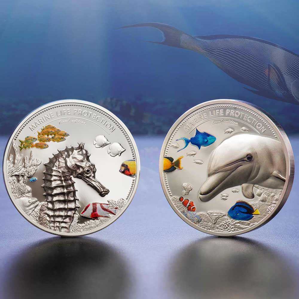 MARINE LIFE PROTECTION 2017 PALAU 4oz PIEDFORT 2 COIN SILVER SET