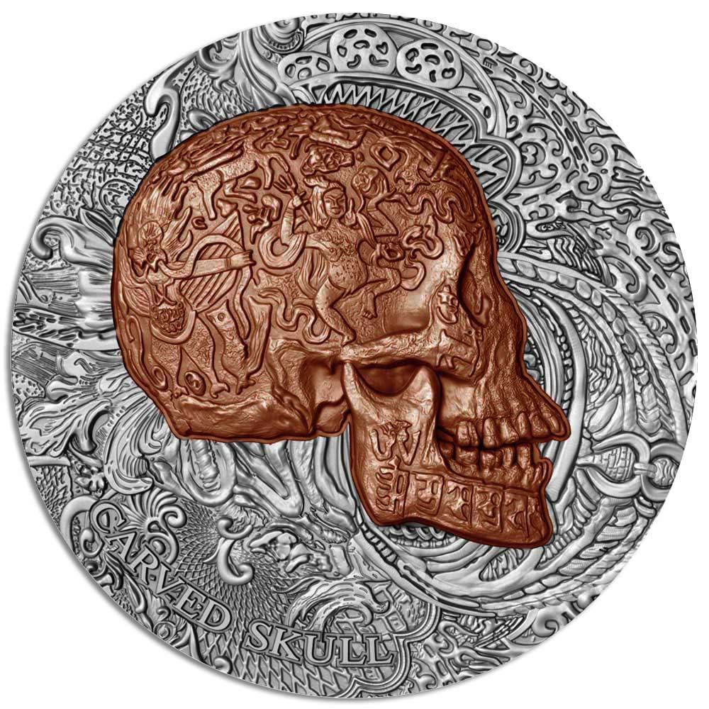 Carved Skulls and Bones Silver 1oz Silver Coin 2017
