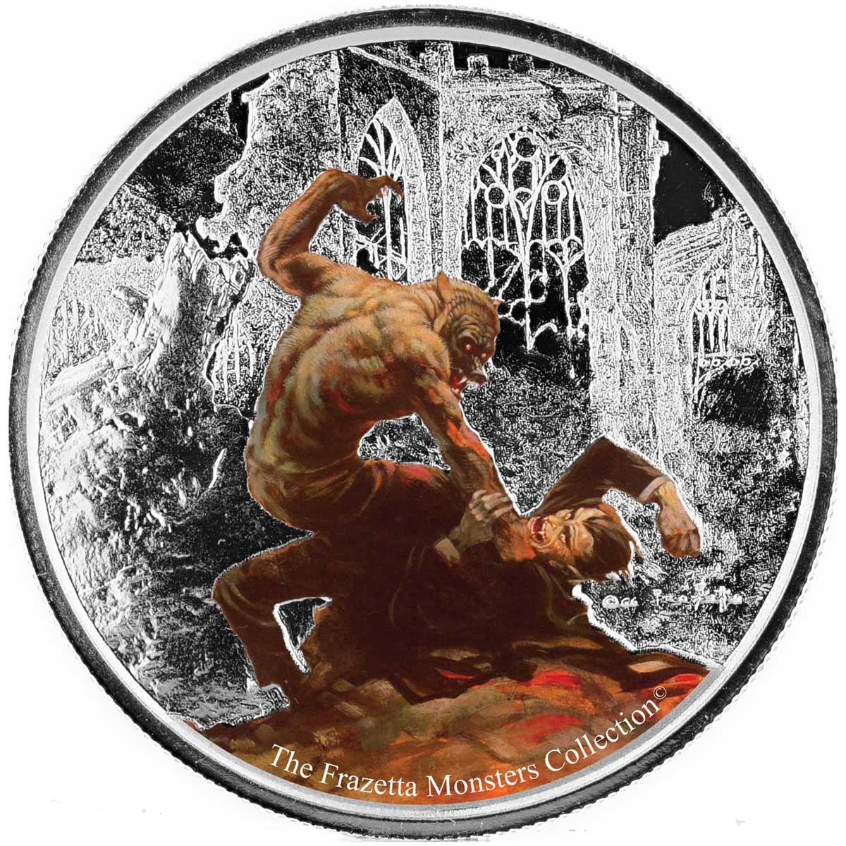 2017 Frazetta Monsters: Werewolf vs The Count 1oz Silver