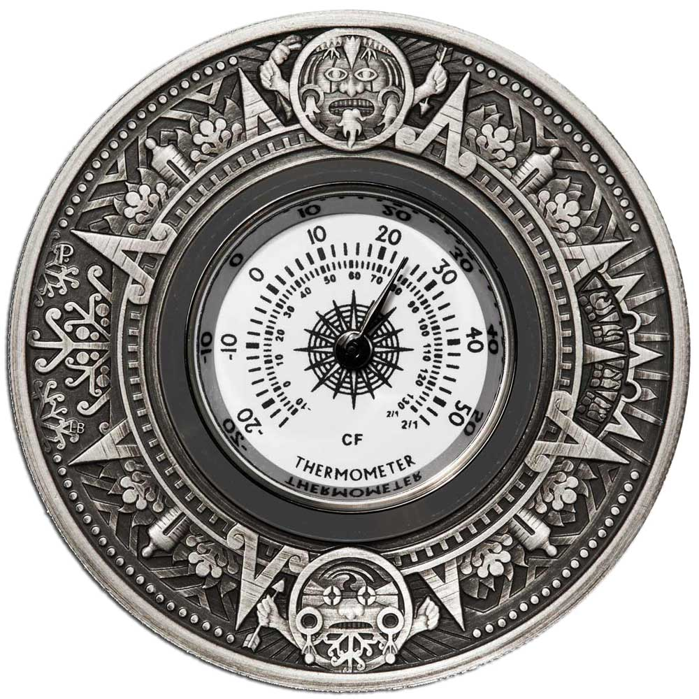 Thermometer 2018 2oz Silver Antiqued Coin