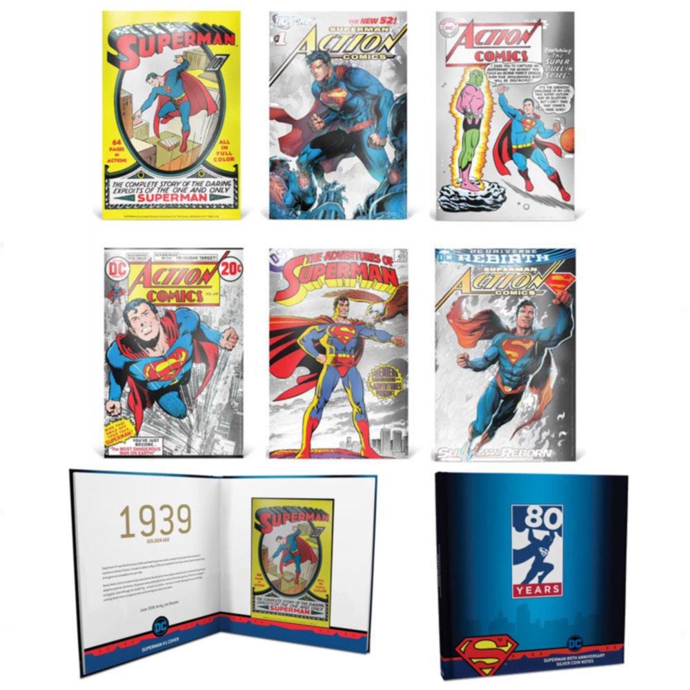 2018 Niue 5 gram Silver Superman 80th Anniversary Six Note Collection