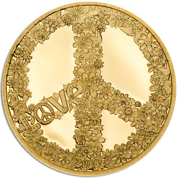 CIT Peace and Love 2018 Palau 0.5g minigold proof coin