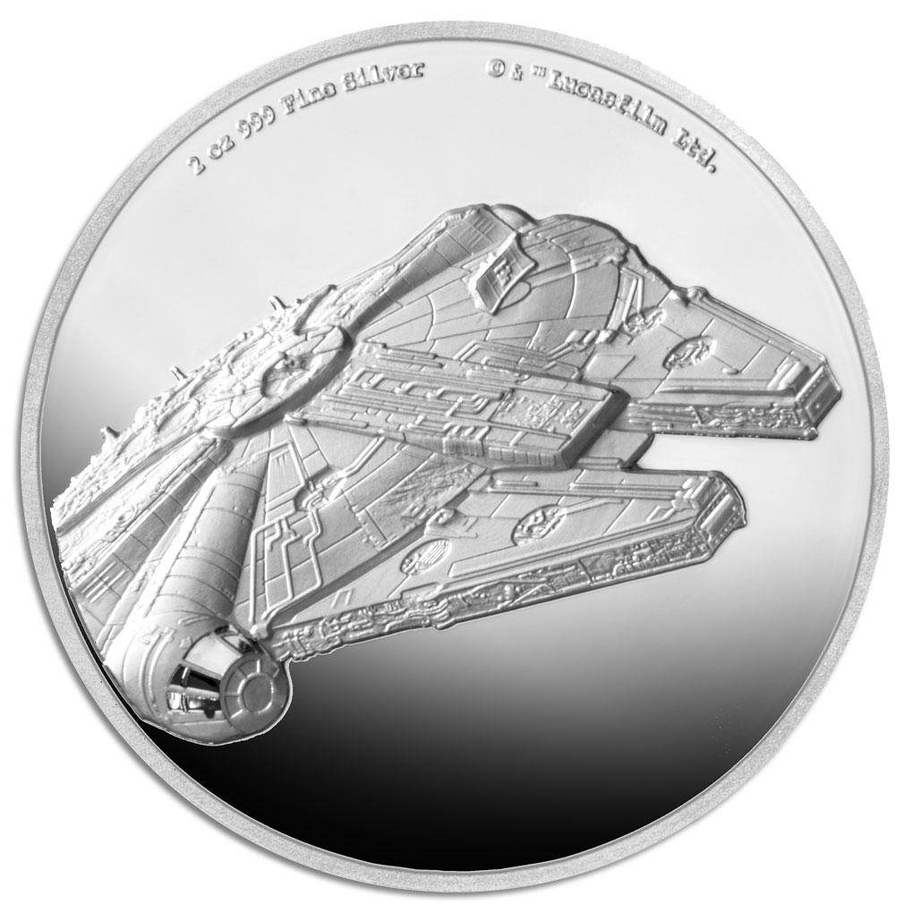 STAR WARS: MILLENNIUM FALCON 2019 Niue 2oz ultra high relief silver coin
