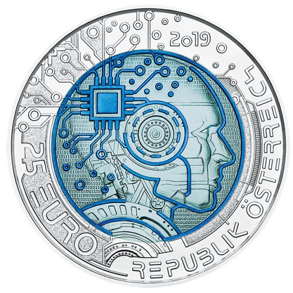 2019 SILVER NIOBIUM COIN 25€: Artificial Intelligence