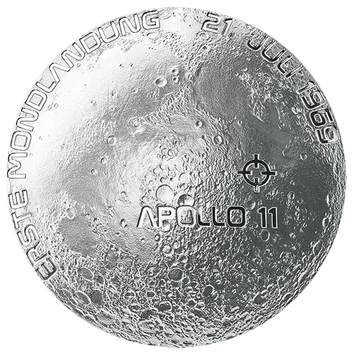 2019 50th Anniversary of the Moon Landing - Dome Shaped 20€ Silver Proof Coin