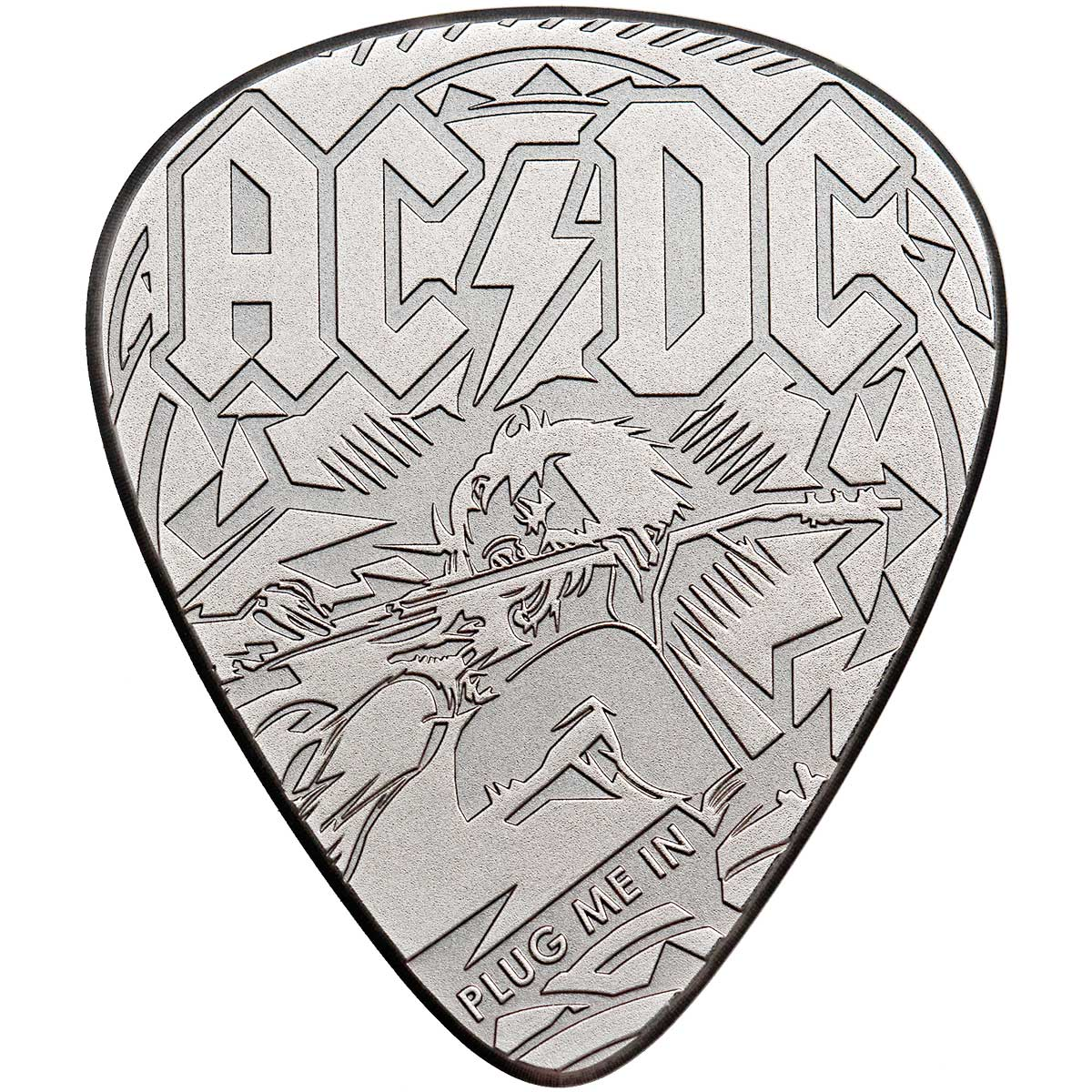 AC/DC GUITAR PICK PLUG ME IN 2019 Cook Islands 1/4oz proof coin