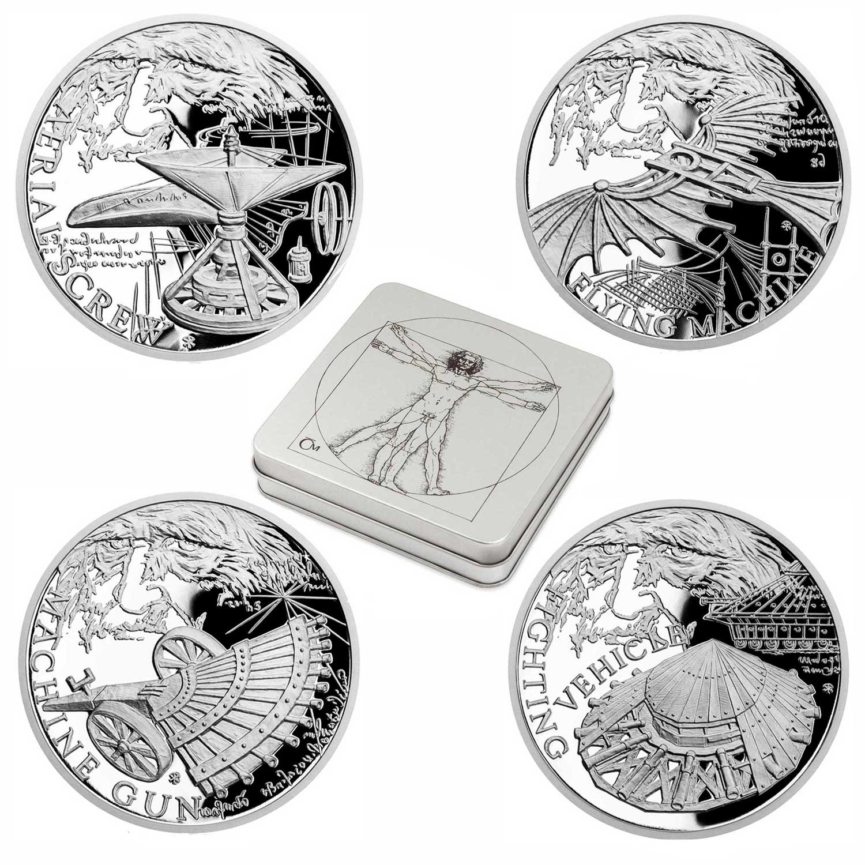 INVENTIONS OF LEONARDO: SET 2019 Niue 4x 1oz proof silver coin