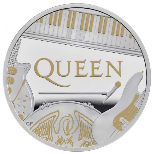 MUSIC LEGENDS: QUEEN 2020 UK 1oz gilded silver coin