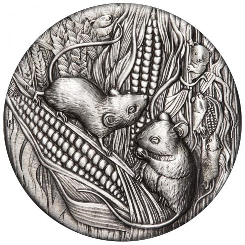 AUSTRALIAN LUNAR III 2020 Year of the Mouse 2oz Antiqued Silver Coin