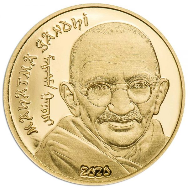 REVOLUTIONARIES: MAHATMA GANDHI 2020 Mongolia 0.5g minigold proof coin