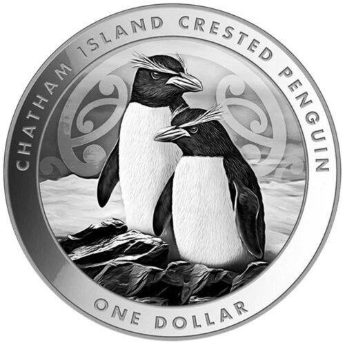 CHATHAM ISLAND CRESTED PENGUIN - 2020 NZ$1 1oz silver BU