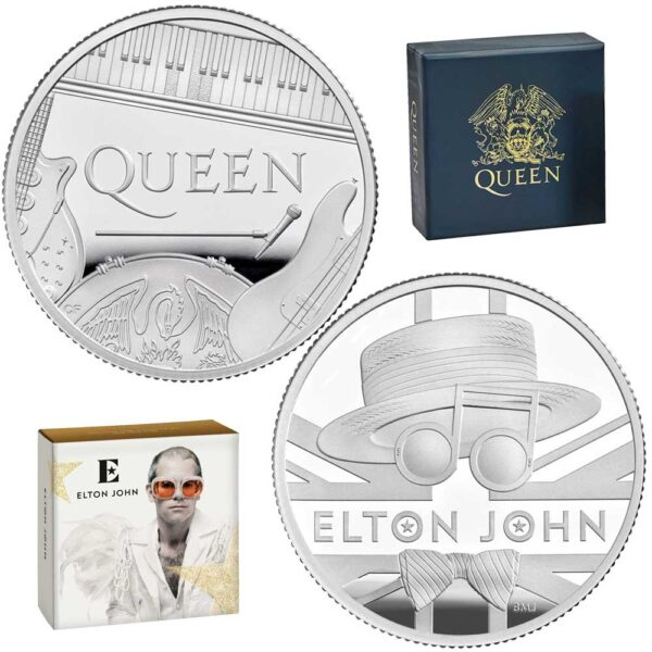 MUSIC LEGENDS: ELTON JOHN & QUEEN2020 UK 2x 1/2oz proof silver coin