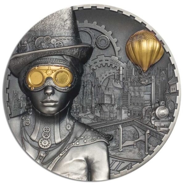 STEAMPUNK - 2020 Cook Islands 3oz antiqued silver