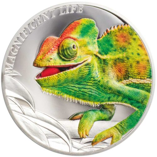 CHAMELEON MAGNIFICENT LIFE - 2020 Cook Islands 1oz proof silver coin