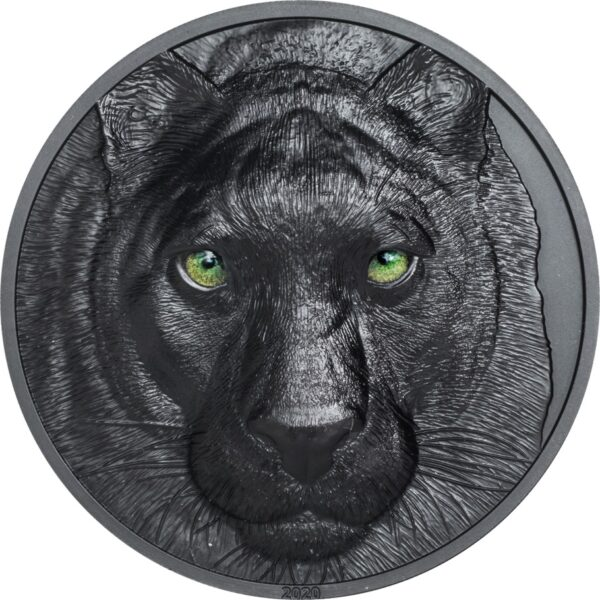 BLACK PANTHER – HUNTERS BY NIGHT: 2020 Palau 2oz obsidian black silver coin