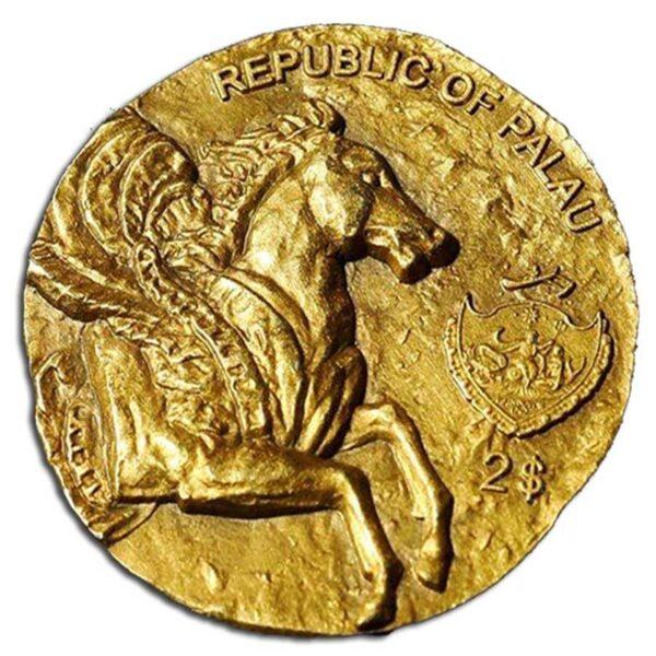ANCIENT GREECE PEGASUS - 2020 Palau 12g antiqued gilded silver coin