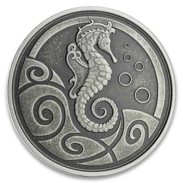 SEAHORSE 2019 Samoa 1oz Silver Antiqued Coin