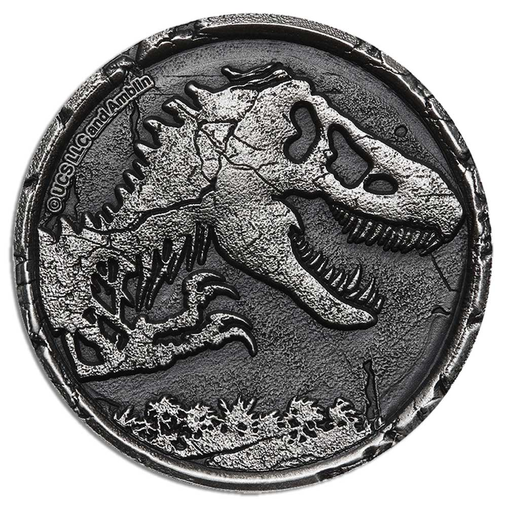 JURASSIC WORLD 2021 Niue 2oz antiqued silver coin