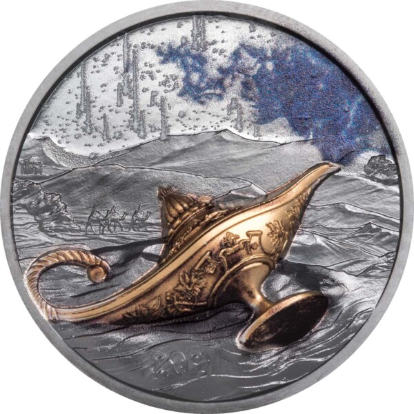 MAGICAL LAMP – 1001 NIGHTS 2021 Palau 1oz black proof silver coin